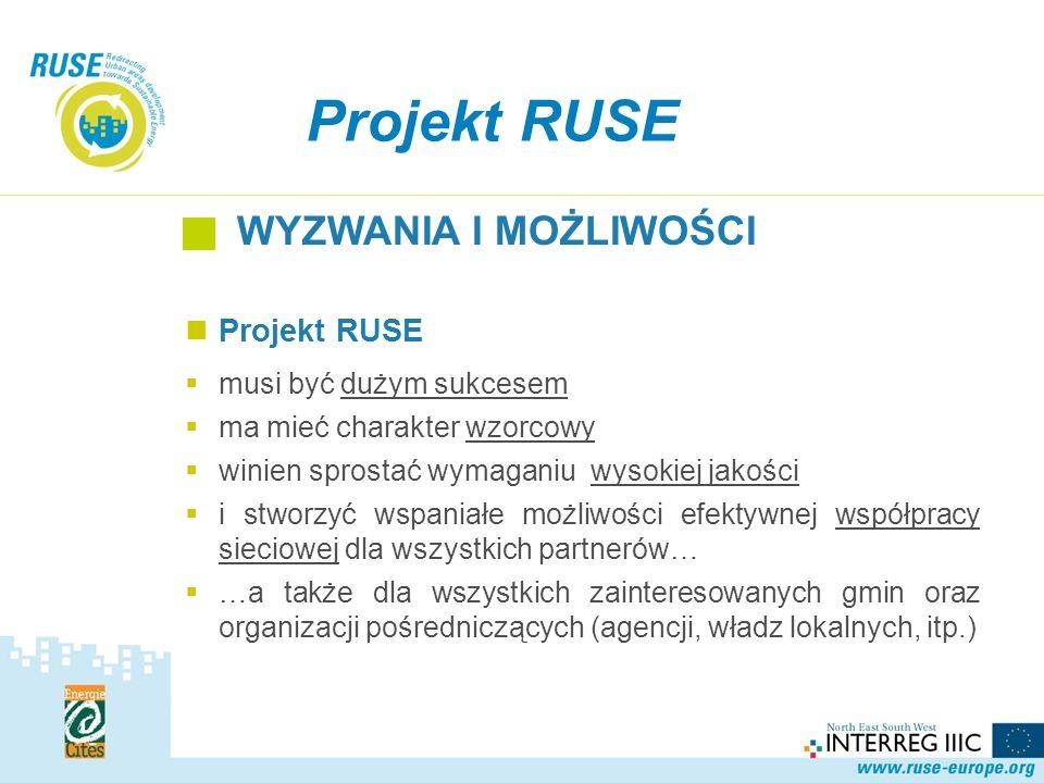 Projekt RUSE musi być dużym sukcesem ma mieć charakter wzorcowy winien sprostać wymaganiu wysokiej jakości i stworzyć wspaniałe możliwości efektywnej współpracy sieciowej dla wszystkich partnerów… …a także dla wszystkich zainteresowanych gmin oraz organizacji pośredniczących (agencji, władz lokalnych, itp.) Projekt RUSE WYZWANIA I MOŻLIWOŚCI