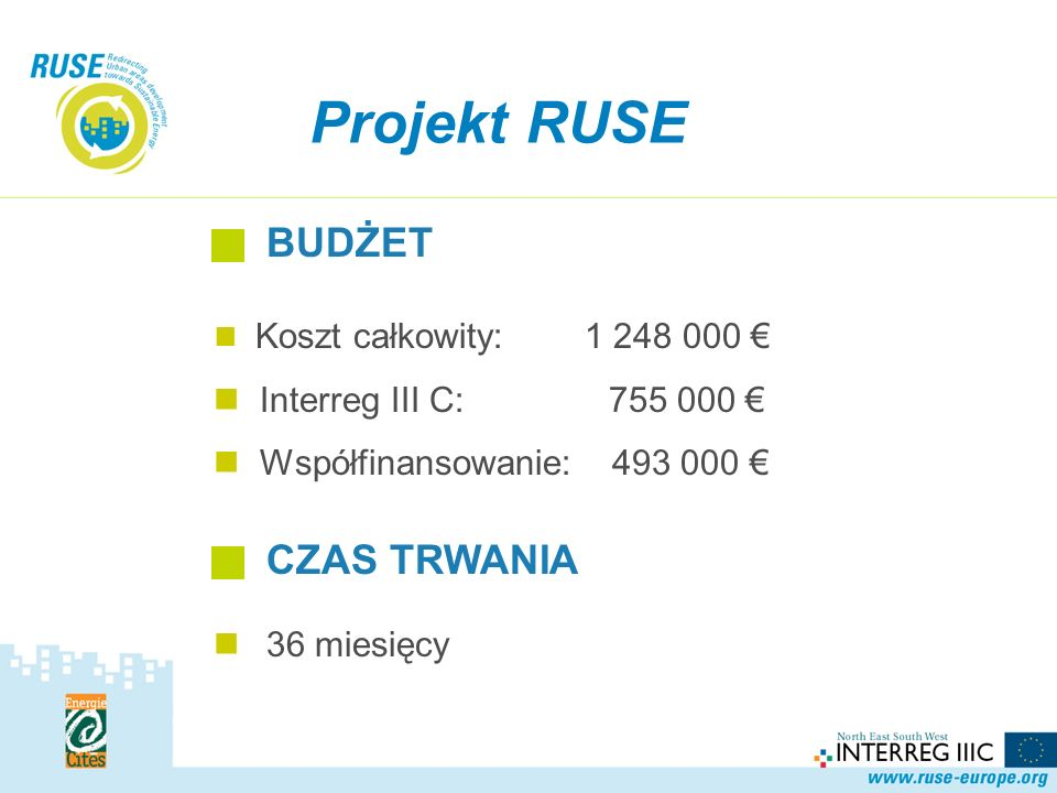 Koszt całkowity: 1 248 000 Interreg III C: 755 000 Współfinansowanie: 493 000 Projekt RUSE BUDŻET CZAS TRWANIA 36 miesięcy
