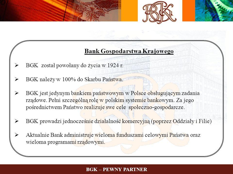 Bank Gospodarstwa Krajowego BGK został powołany do życia w 1924 r. BGK należy w 100% do Skarbu Państwa. BGK jest jedynym bankiem państwowym w Polsce o