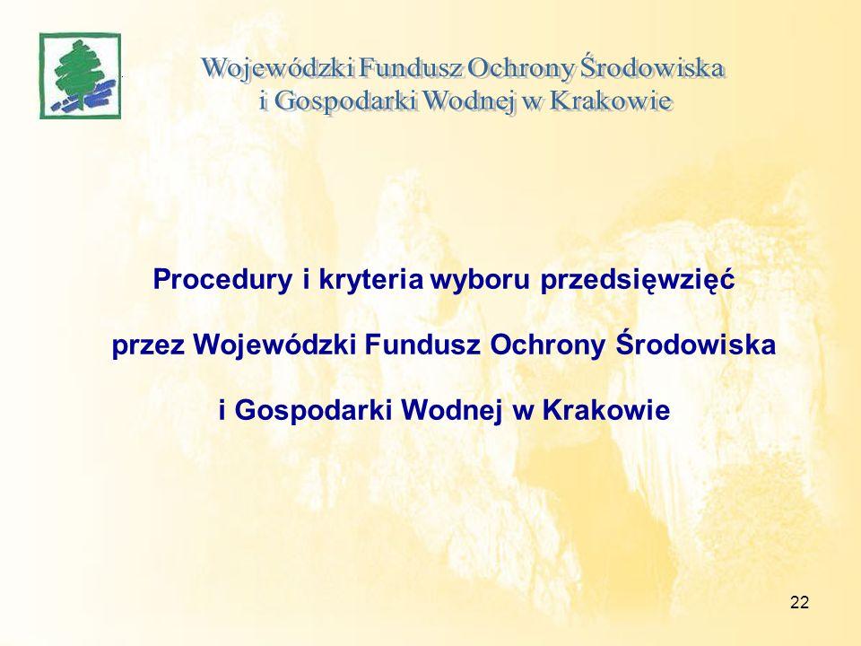 22 Procedury i kryteria wyboru przedsięwzięć przez Wojewódzki Fundusz Ochrony Środowiska i Gospodarki Wodnej w Krakowie