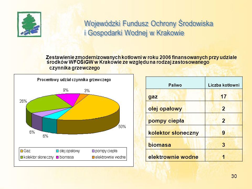 30 Zestawienie zmodernizowanych kotłowni w roku 2006 finansowanych przy udziale środków WFOŚiGW w Krakowie ze względu na rodzaj zastosowanego czynnika