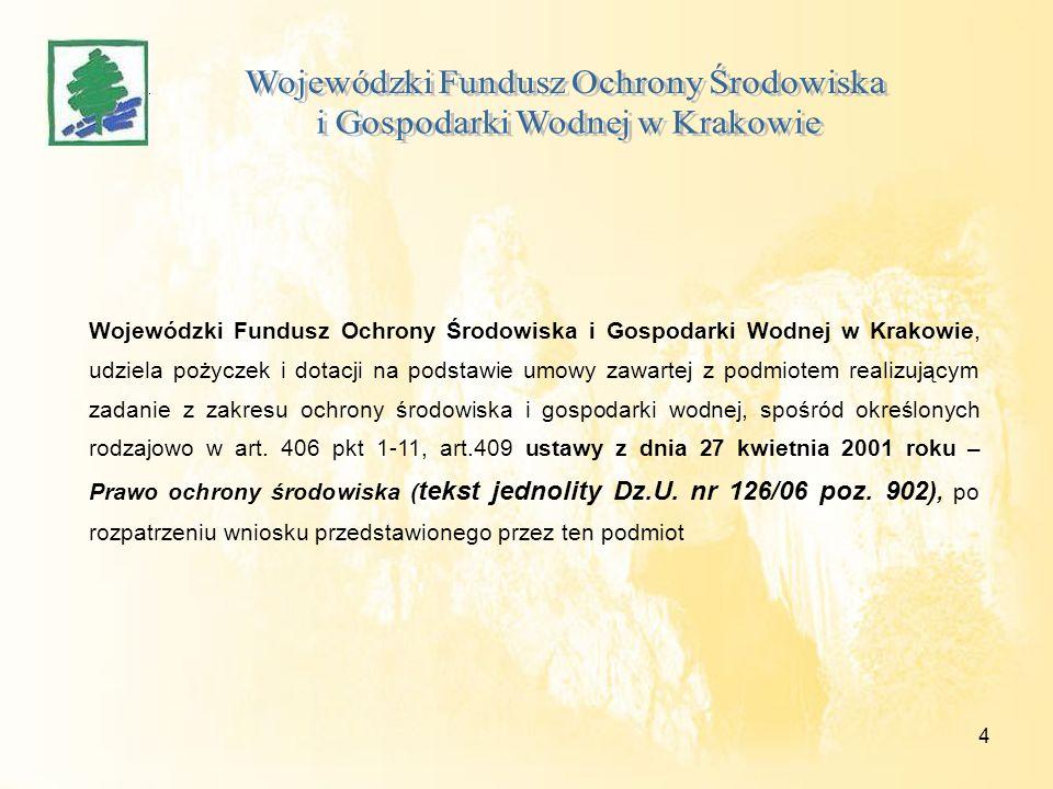 4 Wojewódzki Fundusz Ochrony Środowiska i Gospodarki Wodnej w Krakowie, udziela pożyczek i dotacji na podstawie umowy zawartej z podmiotem realizujący