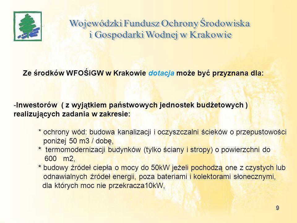 9 Ze środków WFOŚiGW w Krakowie dotacja może być przyznana dla: -Inwestorów ( z wyjątkiem państwowych jednostek budżetowych ) realizujących zadania w