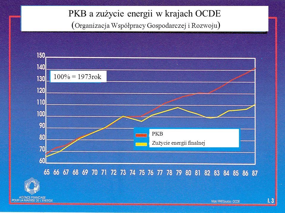 PKB a zużycie energii w krajach OCDE ( Organizacja Współpracy Gospodarczej i Rozwoju ) 100% = 1973rok PKB Zużycie energii finalnej