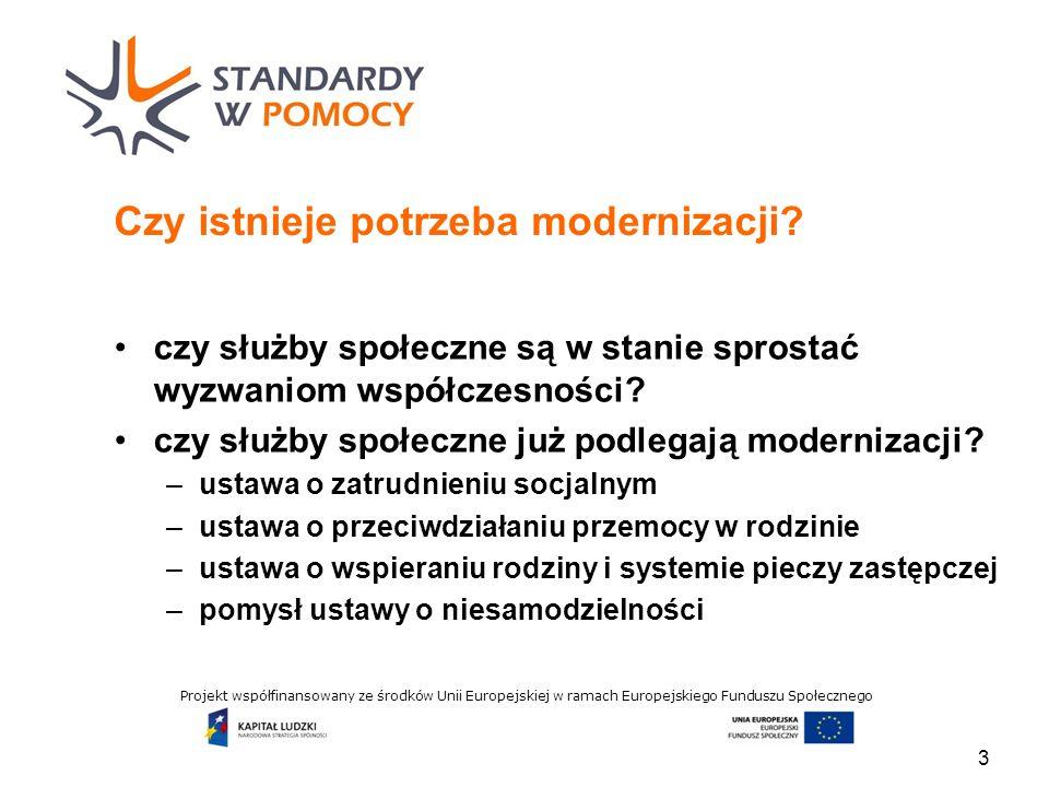Projekt współfinansowany ze środków Unii Europejskiej w ramach Europejskiego Funduszu Społecznego Czy istnieje potrzeba modernizacji.