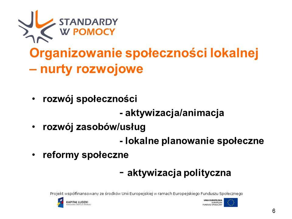 Projekt współfinansowany ze środków Unii Europejskiej w ramach Europejskiego Funduszu Społecznego Organizowanie społeczności lokalnej – nurty rozwojowe rozwój społeczności - aktywizacja/animacja rozwój zasobów/usług - lokalne planowanie społeczne reformy społeczne - aktywizacja polityczna 6