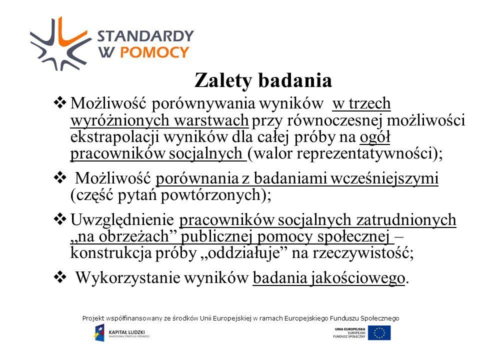 Projekt współfinansowany ze środków Unii Europejskiej w ramach Europejskiego Funduszu Społecznego Zalety badania Możliwość porównywania wyników w trzech wyróżnionych warstwach przy równoczesnej możliwości ekstrapolacji wyników dla całej próby na ogół pracowników socjalnych (walor reprezentatywności); Możliwość porównania z badaniami wcześniejszymi (część pytań powtórzonych); Uwzględnienie pracowników socjalnych zatrudnionych na obrzeżach publicznej pomocy społecznej – konstrukcja próby oddziałuje na rzeczywistość; Wykorzystanie wyników badania jakościowego.