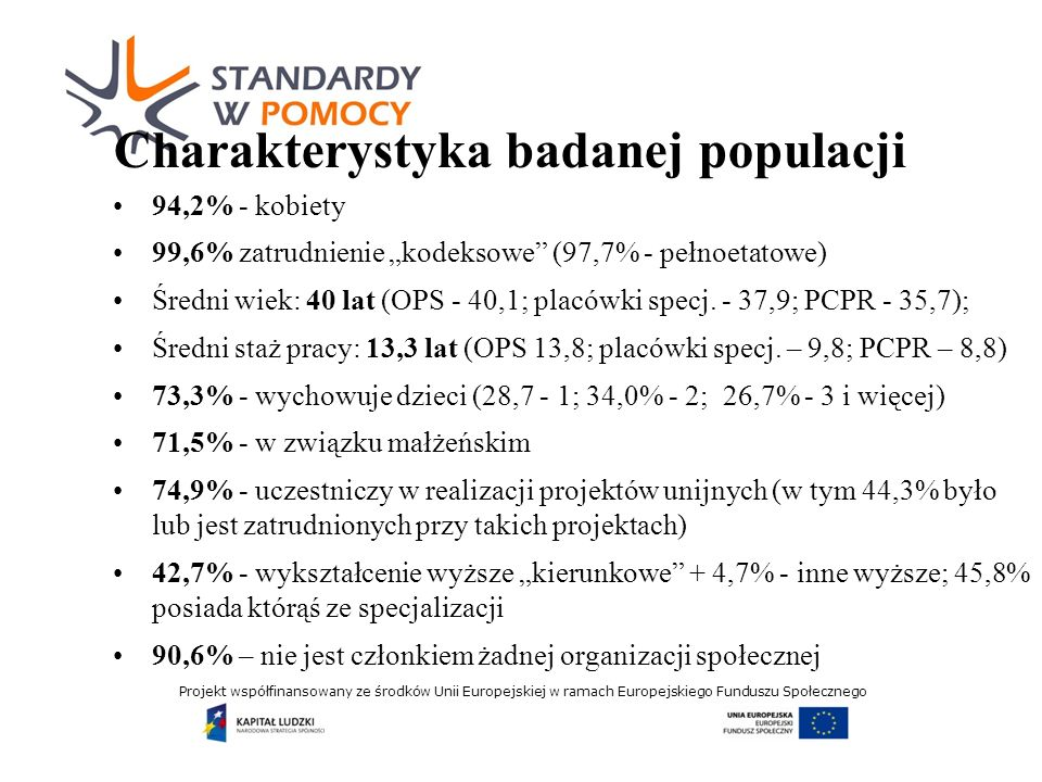 Projekt współfinansowany ze środków Unii Europejskiej w ramach Europejskiego Funduszu Społecznego Charakterystyka badanej populacji 94,2% - kobiety 99,6% zatrudnienie kodeksowe (97,7% - pełnoetatowe) Średni wiek: 40 lat (OPS - 40,1; placówki specj.