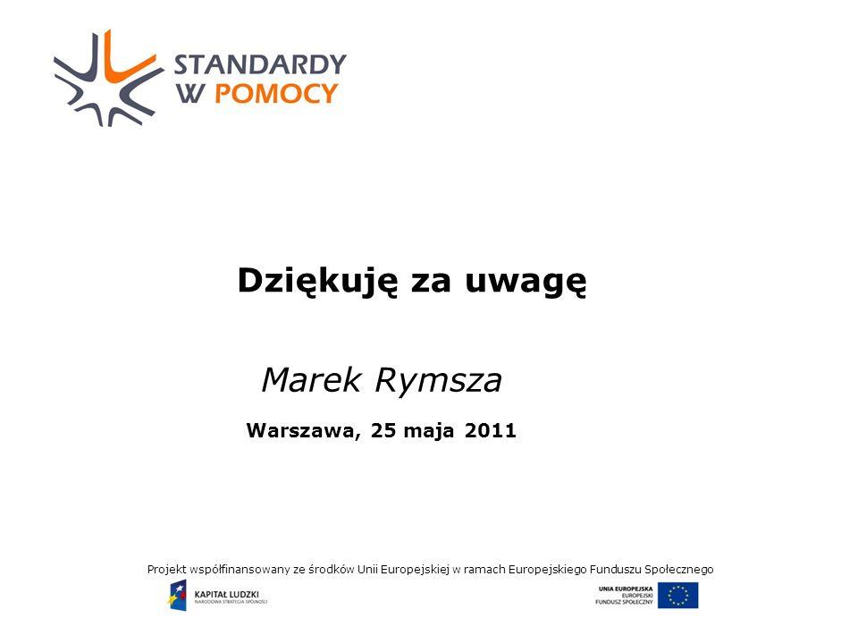 Projekt współfinansowany ze środków Unii Europejskiej w ramach Europejskiego Funduszu Społecznego Dziękuję za uwagę Marek Rymsza Warszawa, 25 maja 2011