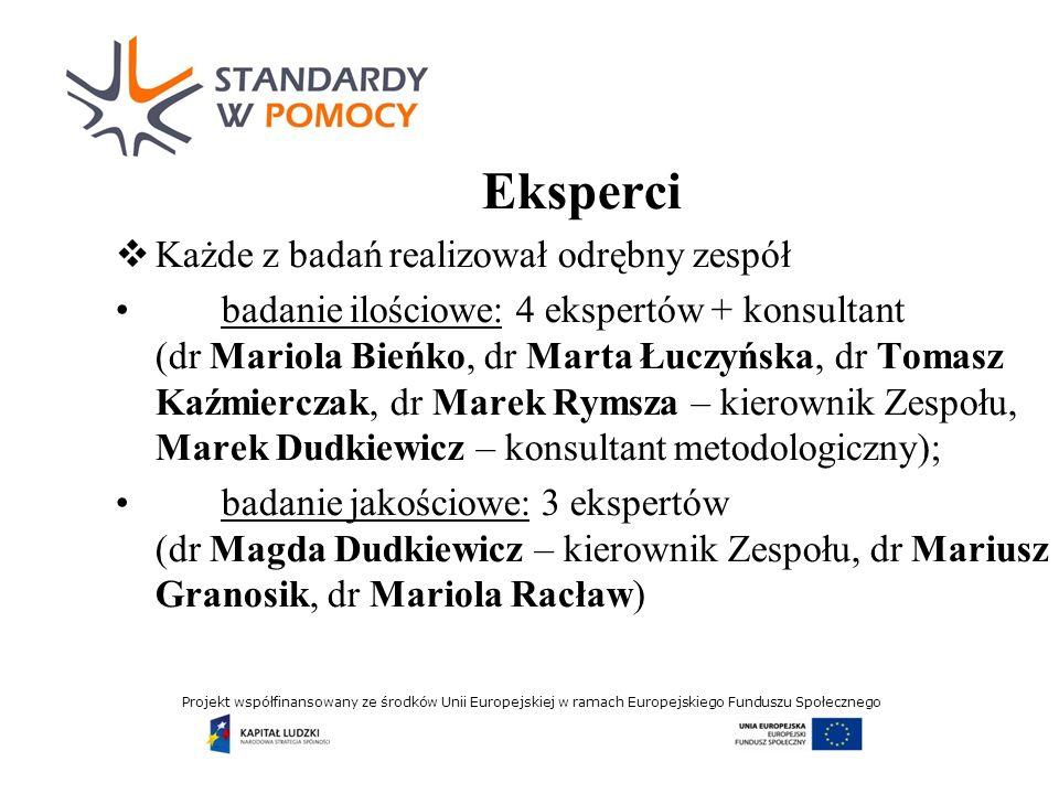 Projekt współfinansowany ze środków Unii Europejskiej w ramach Europejskiego Funduszu Społecznego Koncepcja badania ilościowego Portret pracowników socjalnych ad 2010; Analiza postrzegania przez badanych pracy socjalnej; Analiza potencjału modernizacyjnego służb społecznych w perspektywie upowszechniania podejścia aktywizującego, w tym środowiskowej pracy socjalnej (organizowania społeczności lokalnej); Weryfikacja tezy o wpływie instytucjonalizacji pomocy społecznej na profesjonalizację pracowników socjalnych