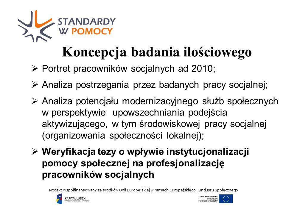 Projekt współfinansowany ze środków Unii Europejskiej w ramach Europejskiego Funduszu Społecznego Weryfikacja tezy głównej rozróżnienie (1) profesjonalizacji przez instytucjonalizację oraz (2) profesjonalizacji przez edukację rozróżnienie dwóch rodzajów tożsamości zawodowej: (1) pracownik socjalny jako urzędnik systemu pomocy społecznej oraz (2) pracownik socjalny jako specjalista w zakresie pracy socjalnej