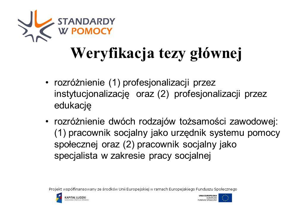 Projekt współfinansowany ze środków Unii Europejskiej w ramach Europejskiego Funduszu Społecznego Wnioski (1) Profesjonalizacja przez instytucjonalizację zdominowała w Polsce profesjonalizację przez edukację.