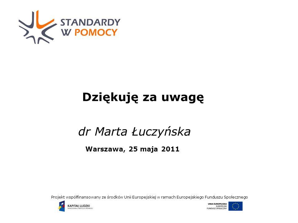 Projekt współfinansowany ze środków Unii Europejskiej w ramach Europejskiego Funduszu Społecznego Dziękuję za uwagę dr Marta Łuczyńska Warszawa, 25 maja 2011