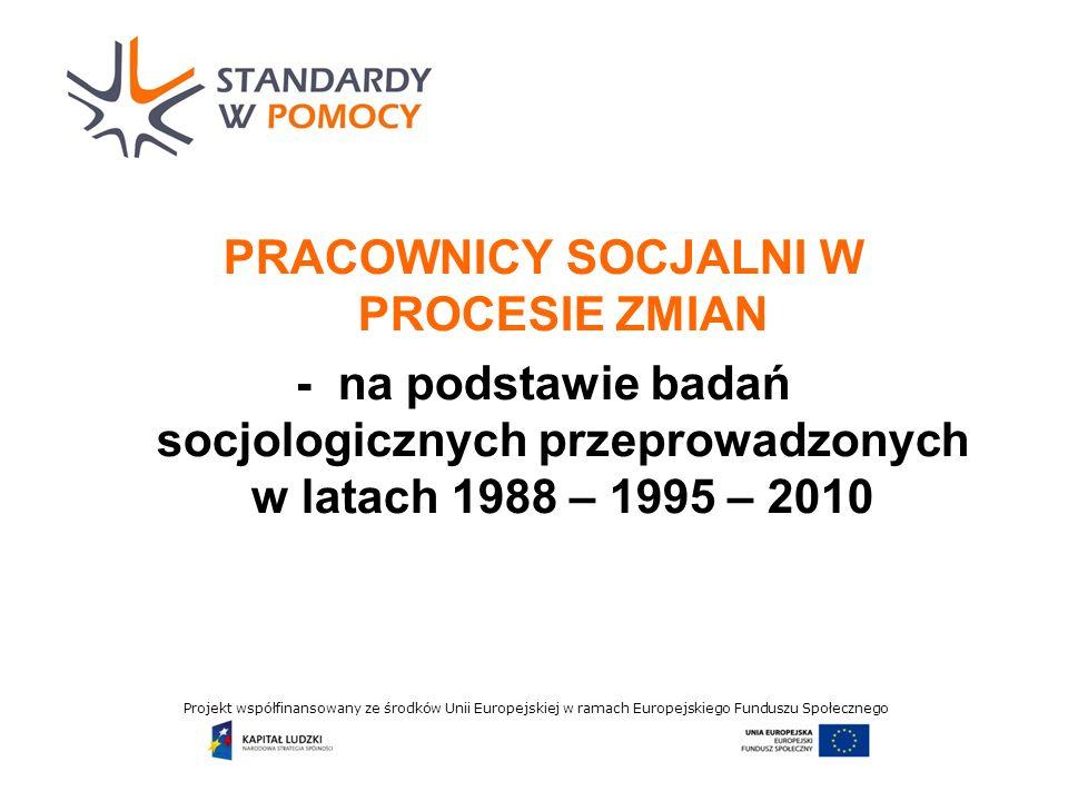 Projekt współfinansowany ze środków Unii Europejskiej w ramach Europejskiego Funduszu Społecznego 1988 rok Badania nt.