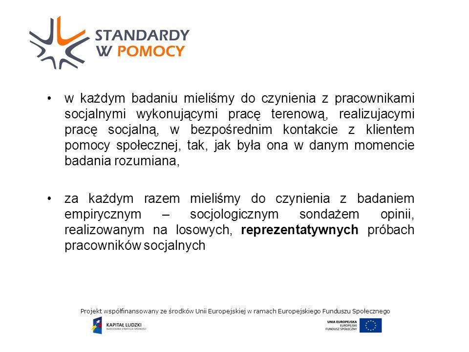 Projekt współfinansowany ze środków Unii Europejskiej w ramach Europejskiego Funduszu Społecznego w każdym badaniu mieliśmy do czynienia z pracownikami socjalnymi wykonującymi pracę terenową, realizujacymi pracę socjalną, w bezpośrednim kontakcie z klientem pomocy społecznej, tak, jak była ona w danym momencie badania rozumiana, za każdym razem mieliśmy do czynienia z badaniem empirycznym – socjologicznym sondażem opinii, realizowanym na losowych, reprezentatywnych próbach pracowników socjalnych