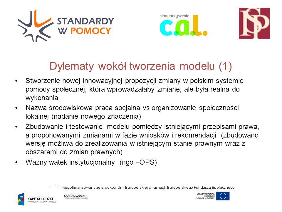 Projekt współfinansowany ze środków Unii Europejskiej w ramach Europejskiego Funduszu Społecznego Dylematy wokół tworzenia modelu (1) Stworzenie nowej innowacyjnej propozycji zmiany w polskim systemie pomocy społecznej, która wprowadzałaby zmianę, ale była realna do wykonania Nazwa środowiskowa praca socjalna vs organizowanie społeczności lokalnej (nadanie nowego znaczenia) Zbudowanie i testowanie modelu pomiędzy istniejącymi przepisami prawa, a proponowanymi zmianami w fazie wniosków i rekomendacji (zbudowano wersję możliwą do zrealizowania w istniejącym stanie prawnym wraz z obszarami do zmian prawnych) Ważny wątek instytucjonalny (ngo –OPS)