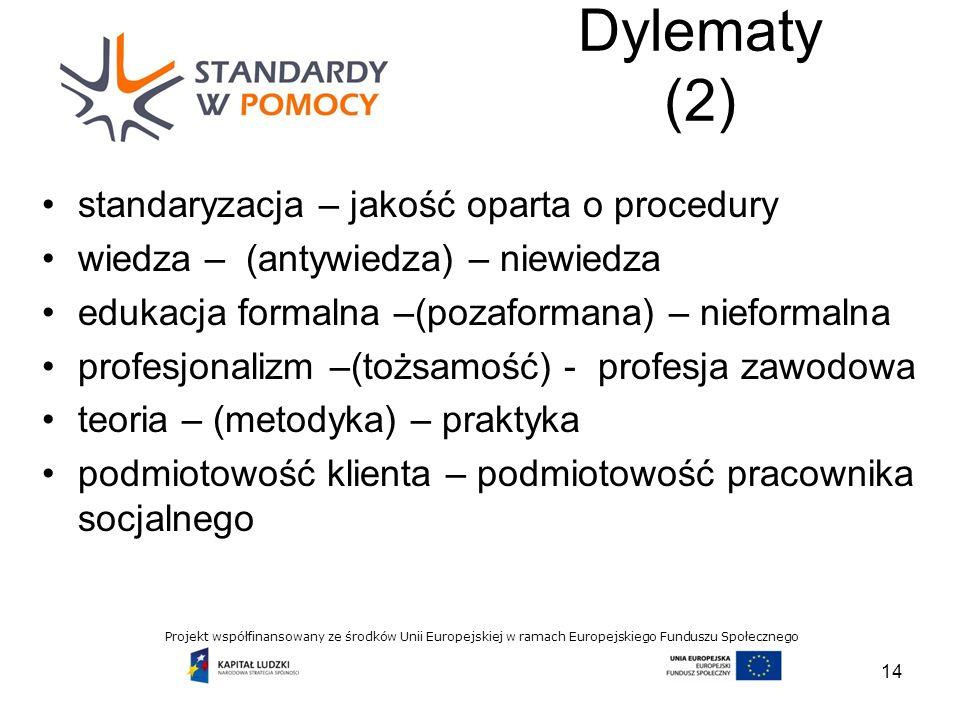Projekt współfinansowany ze środków Unii Europejskiej w ramach Europejskiego Funduszu Społecznego Dylematy (2) 14 standaryzacja – jakość oparta o procedury wiedza – (antywiedza) – niewiedza edukacja formalna –(pozaformana) – nieformalna profesjonalizm –(tożsamość) - profesja zawodowa teoria – (metodyka) – praktyka podmiotowość klienta – podmiotowość pracownika socjalnego