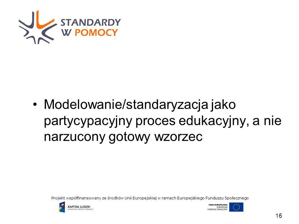 Projekt współfinansowany ze środków Unii Europejskiej w ramach Europejskiego Funduszu Społecznego Modelowanie/standaryzacja jako partycypacyjny proces edukacyjny, a nie narzucony gotowy wzorzec 16