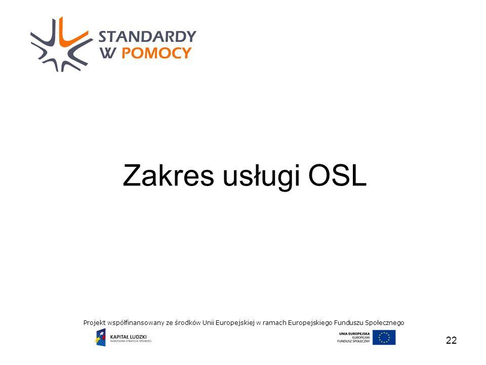 Projekt współfinansowany ze środków Unii Europejskiej w ramach Europejskiego Funduszu Społecznego Zakres usługi OSL 22