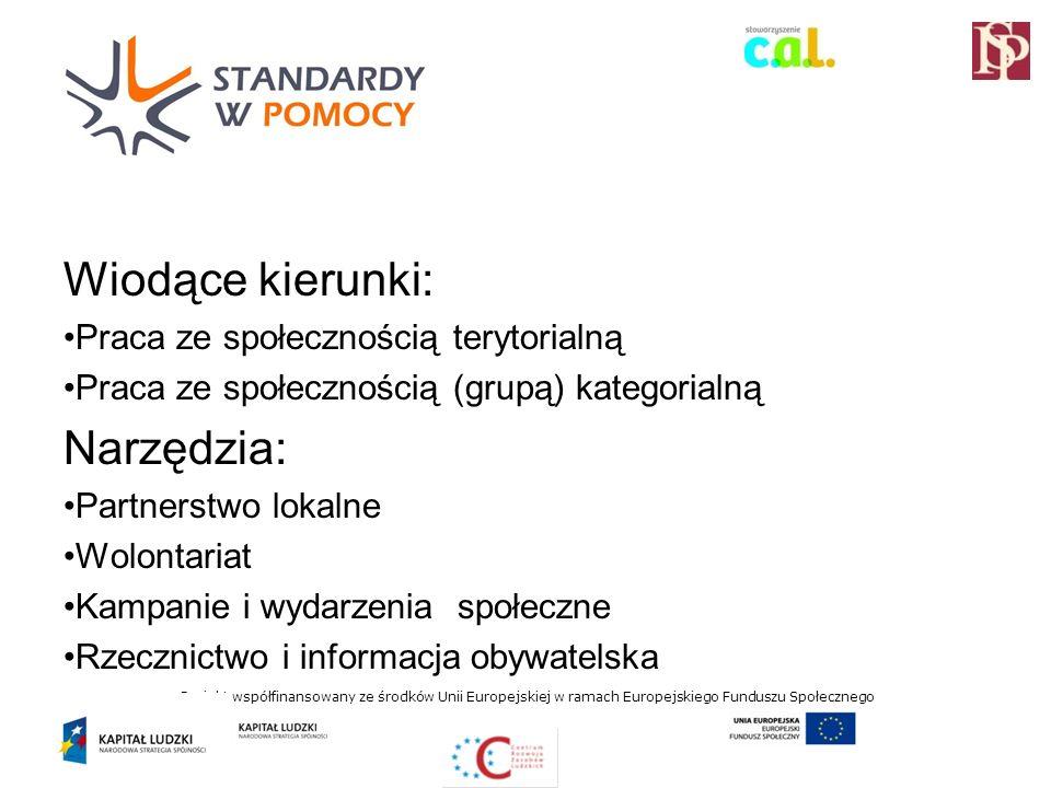 Projekt współfinansowany ze środków Unii Europejskiej w ramach Europejskiego Funduszu Społecznego Wiodące kierunki: Praca ze społecznością terytorialną Praca ze społecznością (grupą) kategorialną Narzędzia: Partnerstwo lokalne Wolontariat Kampanie i wydarzenia społeczne Rzecznictwo i informacja obywatelska