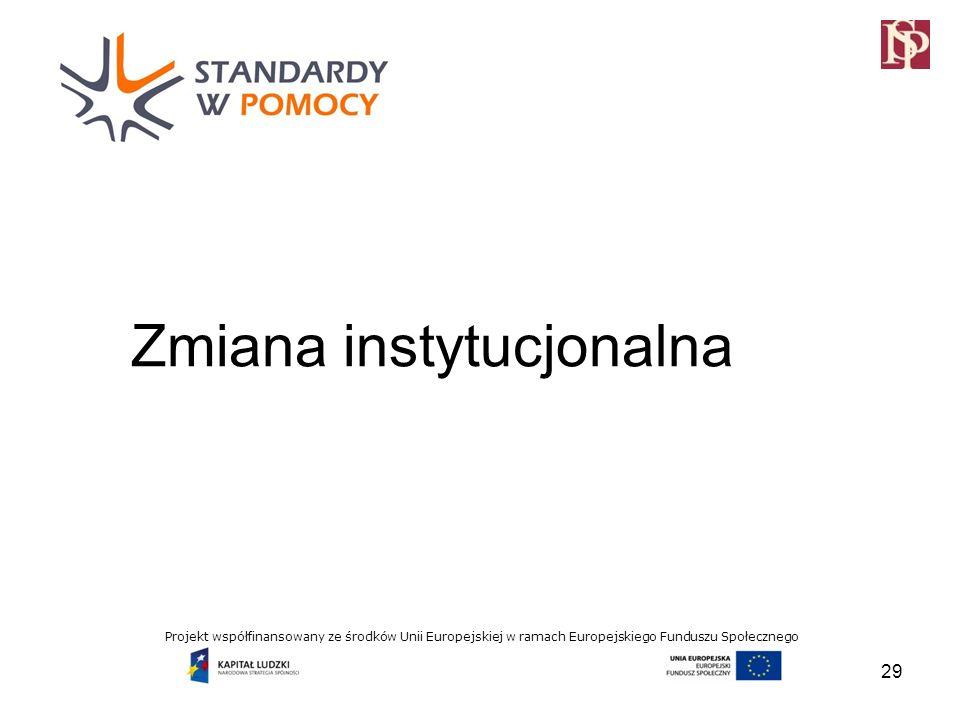 Projekt współfinansowany ze środków Unii Europejskiej w ramach Europejskiego Funduszu Społecznego Zmiana instytucjonalna 29