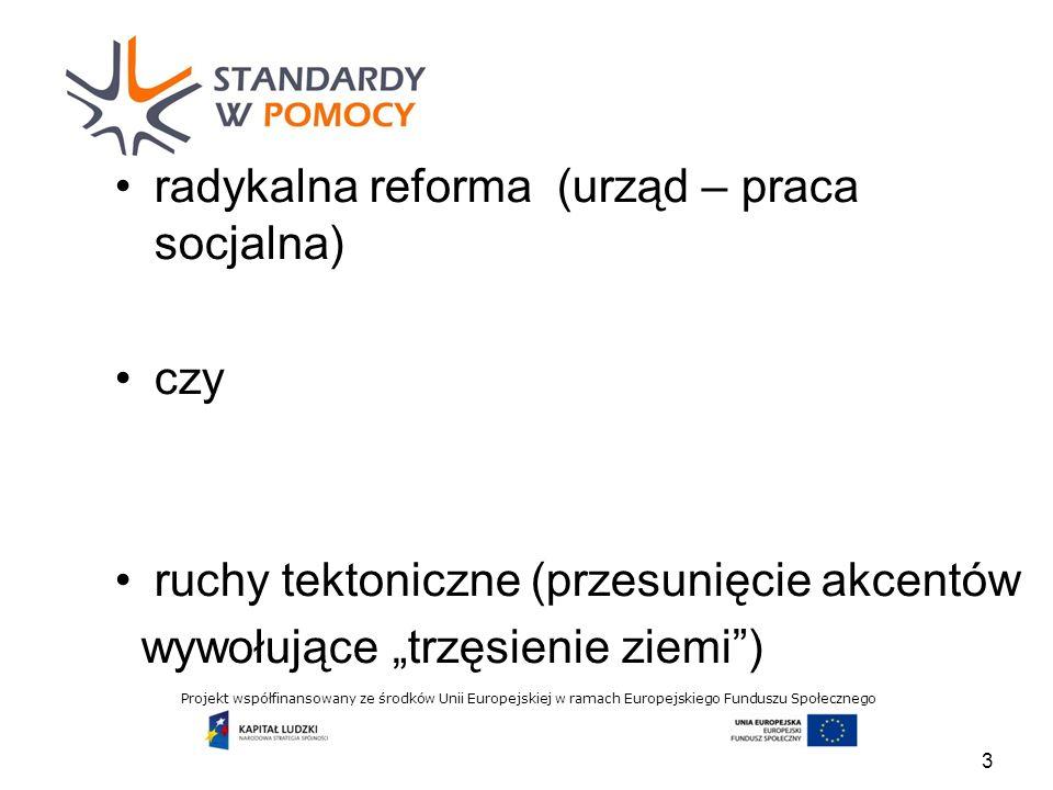 Projekt współfinansowany ze środków Unii Europejskiej w ramach Europejskiego Funduszu Społecznego radykalna reforma (urząd – praca socjalna) czy ruchy tektoniczne (przesunięcie akcentów wywołujące trzęsienie ziemi) 3