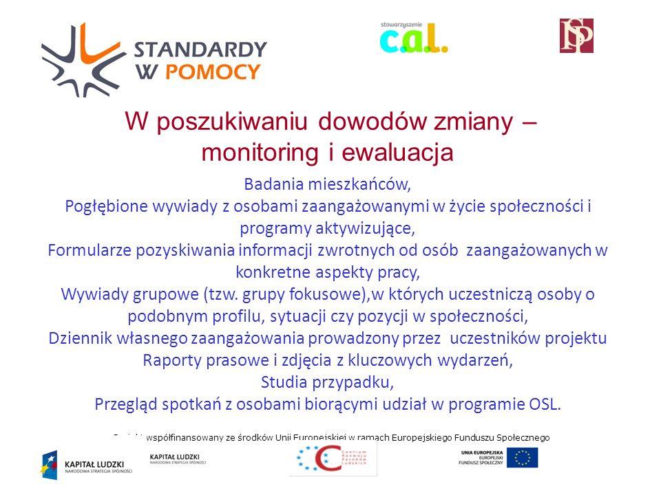 Projekt współfinansowany ze środków Unii Europejskiej w ramach Europejskiego Funduszu Społecznego W poszukiwaniu dowodów zmiany – monitoring i ewaluacja Badania mieszkańców, Pogłębione wywiady z osobami zaangażowanymi w życie społeczności i programy aktywizujące, Formularze pozyskiwania informacji zwrotnych od osób zaangażowanych w konkretne aspekty pracy, Wywiady grupowe (tzw.