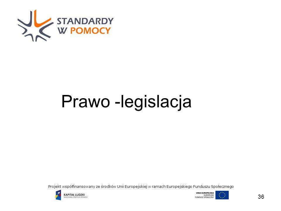 Projekt współfinansowany ze środków Unii Europejskiej w ramach Europejskiego Funduszu Społecznego Prawo -legislacja 36