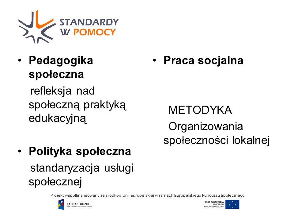 Projekt współfinansowany ze środków Unii Europejskiej w ramach Europejskiego Funduszu Społecznego Pedagogika społeczna refleksja nad społeczną praktyką edukacyjną Polityka społeczna standaryzacja usługi społecznej Praca socjalna METODYKA Organizowania społeczności lokalnej