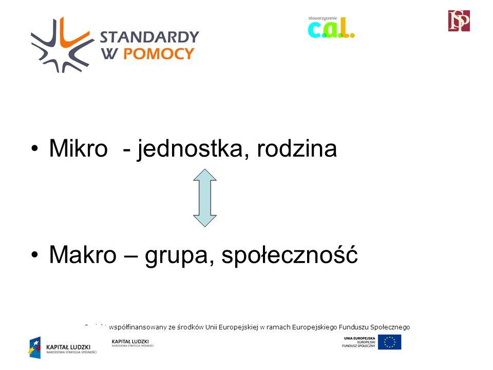 Projekt współfinansowany ze środków Unii Europejskiej w ramach Europejskiego Funduszu Społecznego Mikro - jednostka, rodzina Makro – grupa, społeczność