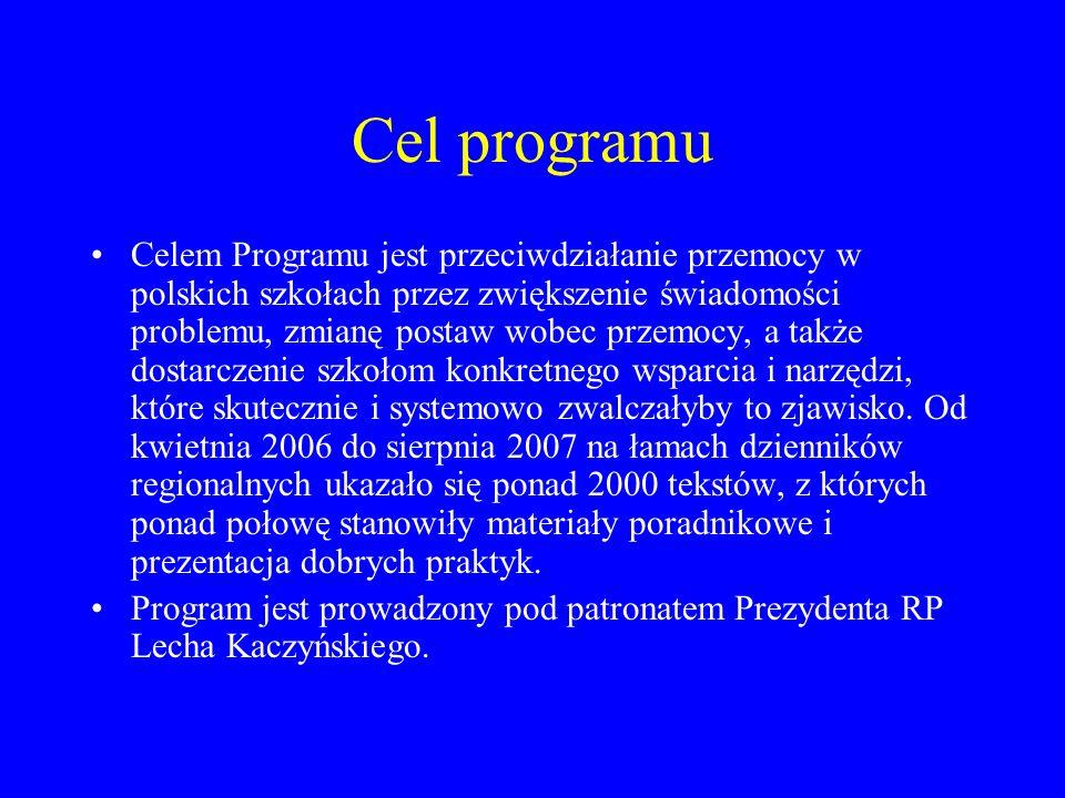 Cel programu Celem Programu jest przeciwdziałanie przemocy w polskich szkołach przez zwiększenie świadomości problemu, zmianę postaw wobec przemocy, a