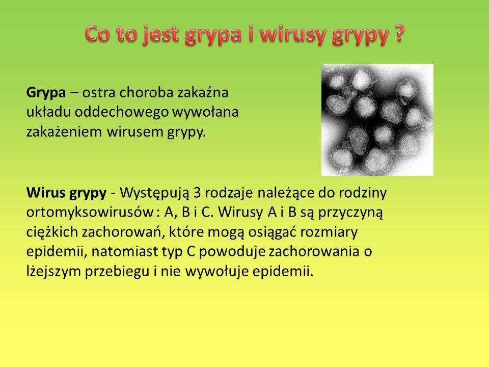 Grypa – ostra choroba zakaźna układu oddechowego wywołana zakażeniem wirusem grypy. Wirus grypy - Występują 3 rodzaje należące do rodziny ortomyksowir