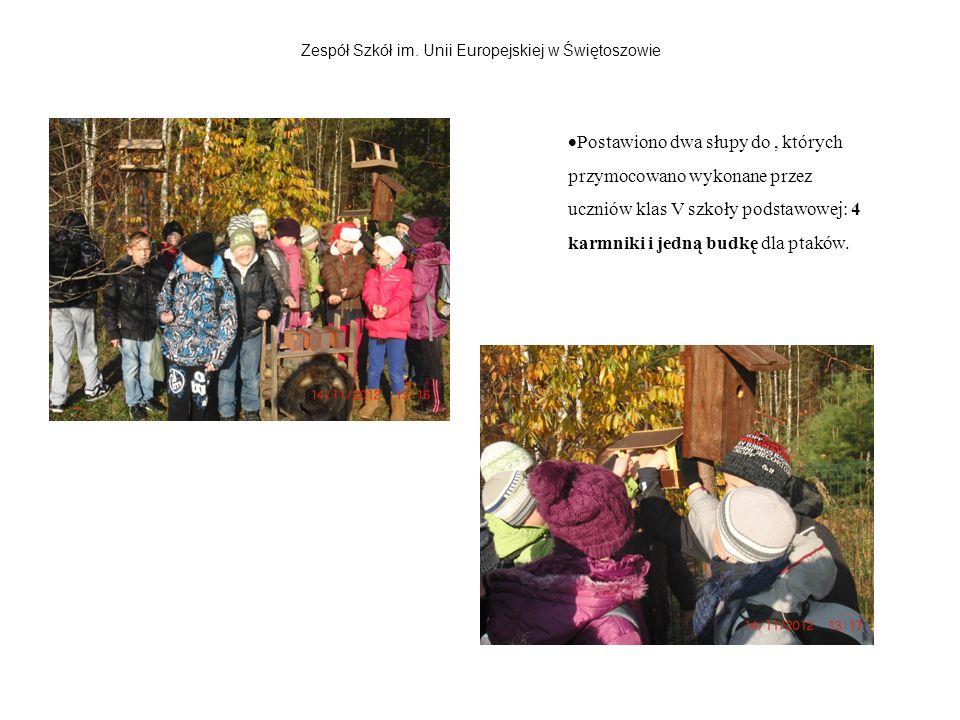 Zespół Szkół im. Unii Europejskiej w Świętoszowie Postawiono dwa słupy do, których przymocowano wykonane przez uczniów klas V szkoły podstawowej: 4 ka