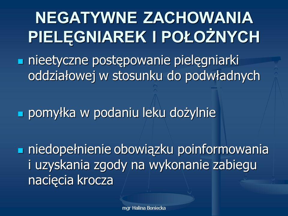 mgr Halina Boniecka NEGATYWNE ZACHOWANIA PIELĘGNIAREK I POŁOŻNYCH nieetyczne postępowanie pielęgniarki oddziałowej w stosunku do podwładnych nieetyczn