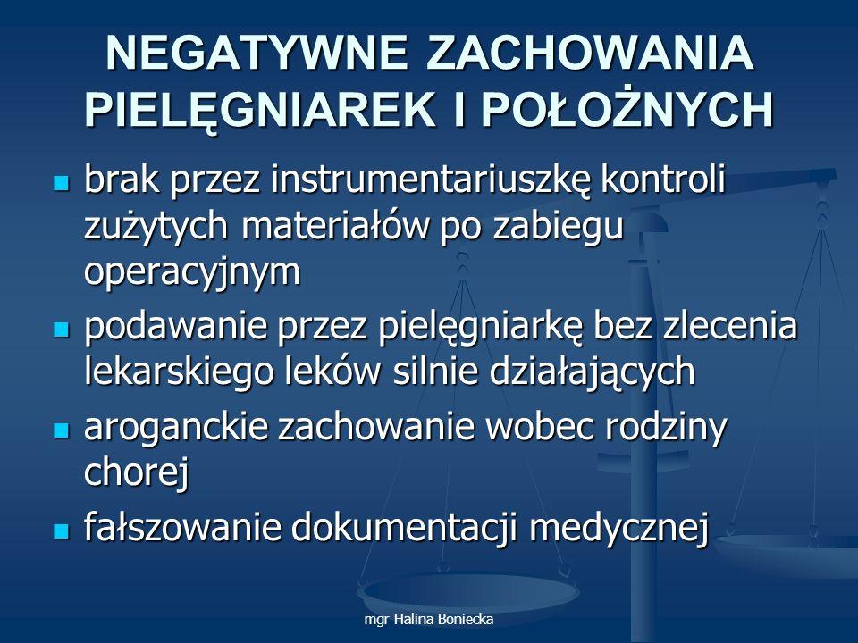 mgr Halina Boniecka NEGATYWNE ZACHOWANIA PIELĘGNIAREK I POŁOŻNYCH brak przez instrumentariuszkę kontroli zużytych materiałów po zabiegu operacyjnym br