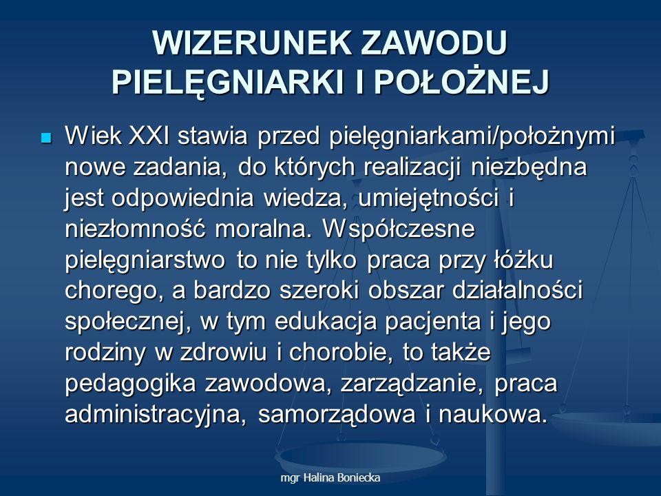 mgr Halina Boniecka WIZERUNEK ZAWODU PIELĘGNIARKI I POŁOŻNEJ Wiek XXI stawia przed pielęgniarkami/położnymi nowe zadania, do których realizacji niezbę