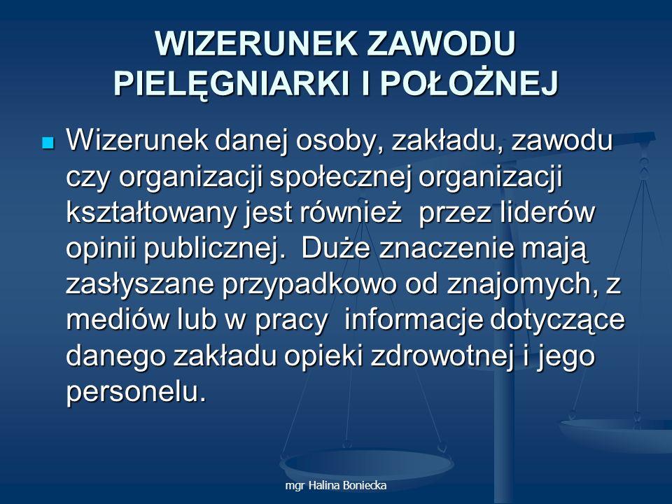 mgr Halina Boniecka WIZERUNEK ZAWODU PIELĘGNIARKI I POŁOŻNEJ Wizerunek danej osoby, zakładu, zawodu czy organizacji społecznej organizacji kształtowan