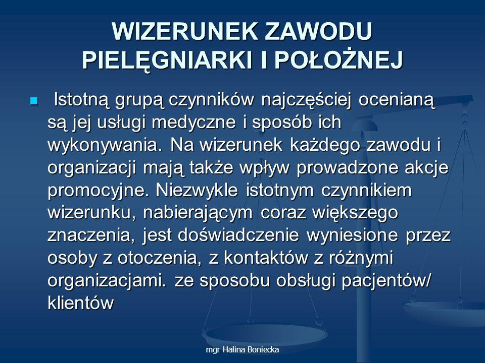 mgr Halina Boniecka WIZERUNEK ZAWODU PIELĘGNIARKI I POŁOŻNEJ Istotną grupą czynników najczęściej ocenianą są jej usługi medyczne i sposób ich wykonywa