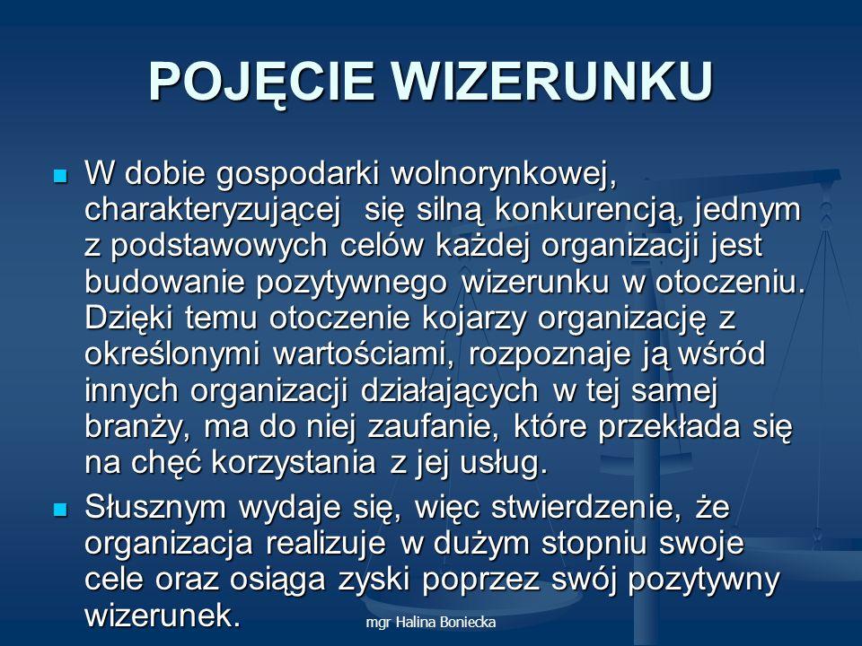 mgr Halina Boniecka POJĘCIE WIZERUNKU W dobie gospodarki wolnorynkowej, charakteryzującej się silną konkurencją, jednym z podstawowych celów każdej or