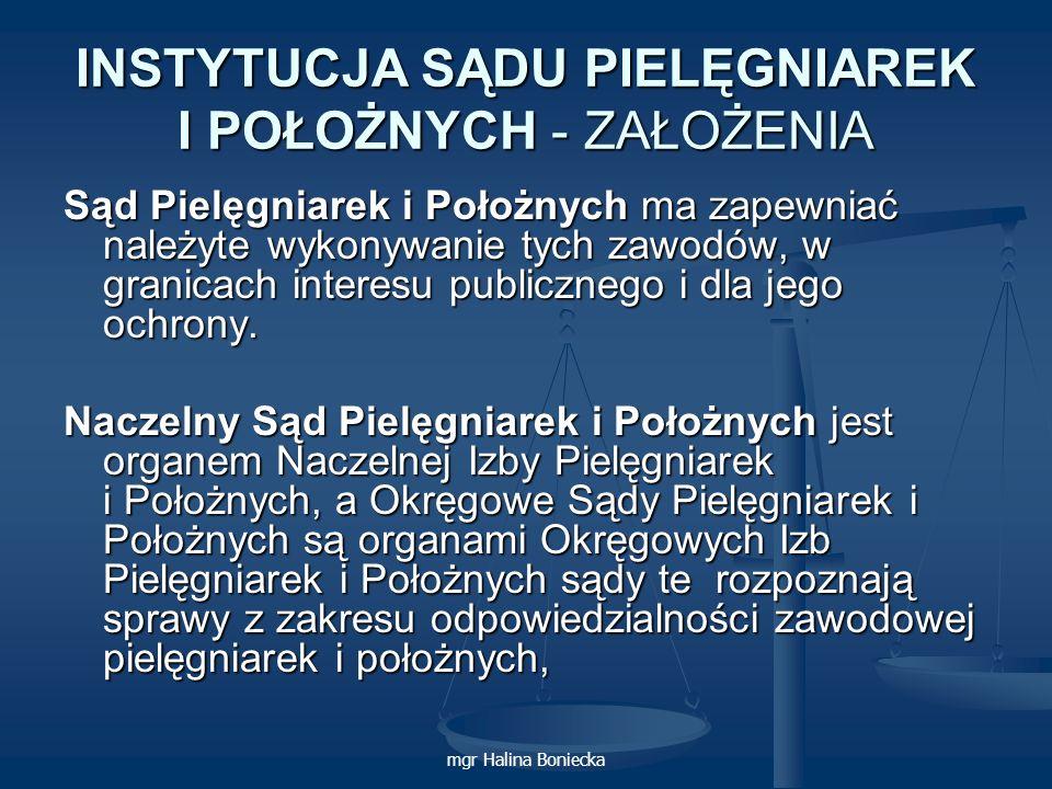 mgr Halina Boniecka INSTYTUCJA SĄDU PIELĘGNIAREK I POŁOŻNYCH - ZAŁOŻENIA Sąd Pielęgniarek i Położnych ma zapewniać należyte wykonywanie tych zawodów,