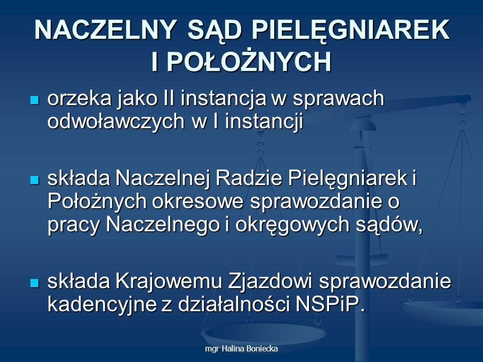 mgr Halina Boniecka NACZELNY SĄD PIELĘGNIAREK I POŁOŻNYCH orzeka jako II instancja w sprawach odwoławczych w I instancji orzeka jako II instancja w sp