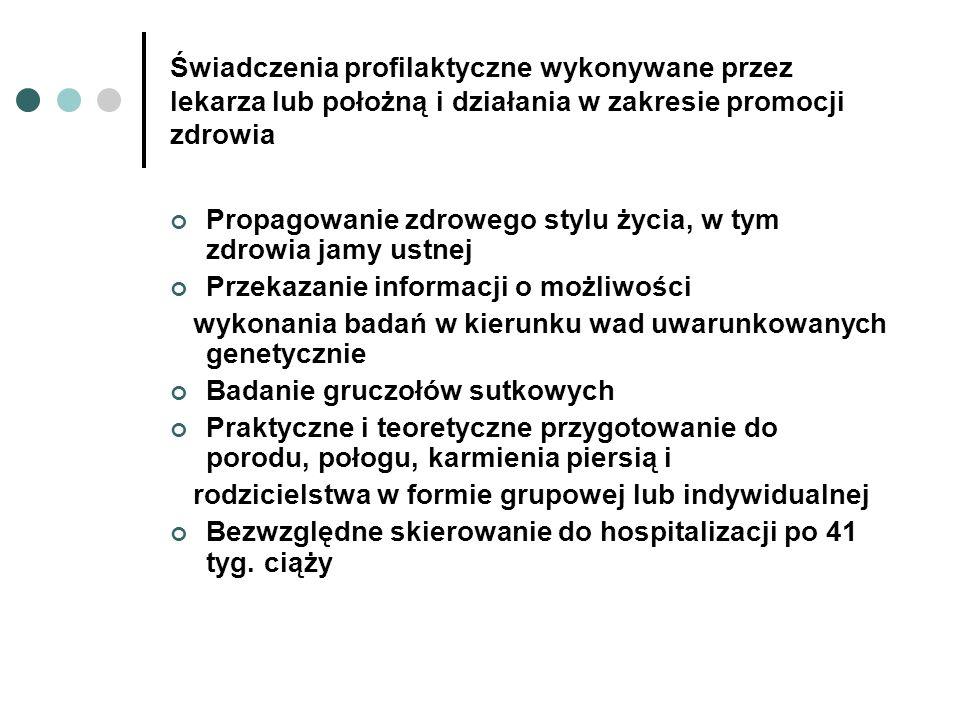 Świadczenia profilaktyczne wykonywane przez lekarza lub położną i działania w zakresie promocji zdrowia Propagowanie zdrowego stylu życia, w tym zdrow