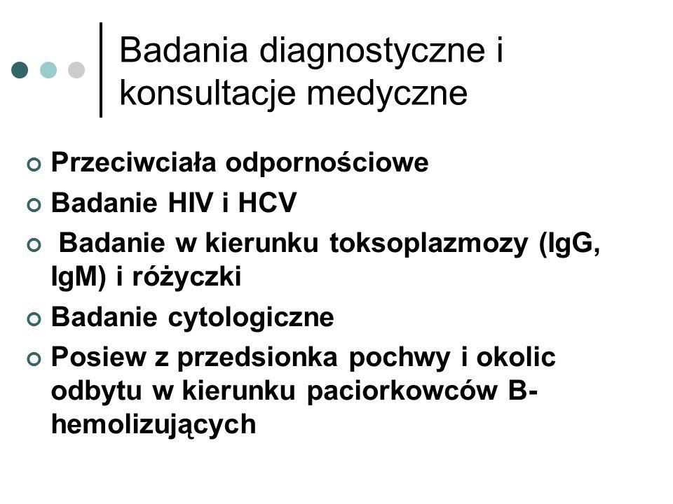 Badania diagnostyczne i konsultacje medyczne Przeciwciała odpornościowe Badanie HIV i HCV Badanie w kierunku toksoplazmozy (IgG, IgM) i różyczki Badan