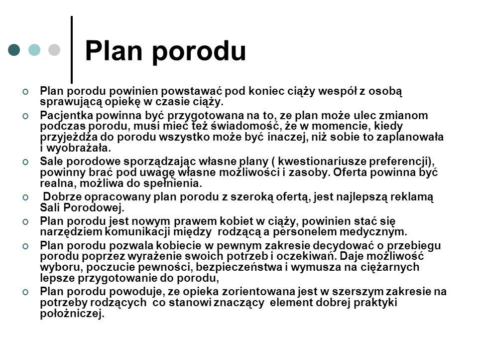 Plan porodu Plan porodu powinien powstawać pod koniec ciąży wespół z osobą sprawującą opiekę w czasie ciąży. Pacjentka powinna być przygotowana na to,