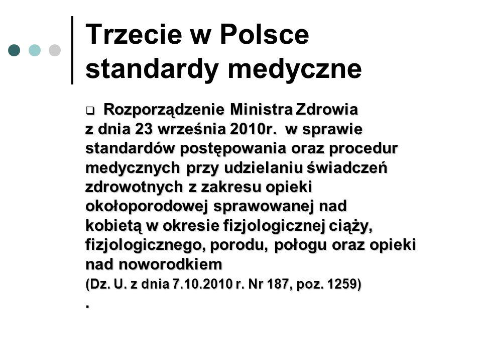 Trzecie w Polsce standardy medyczne Rozporządzenie Ministra Zdrowia Rozporządzenie Ministra Zdrowia z dnia 23 września 2010r. w sprawie standardów pos
