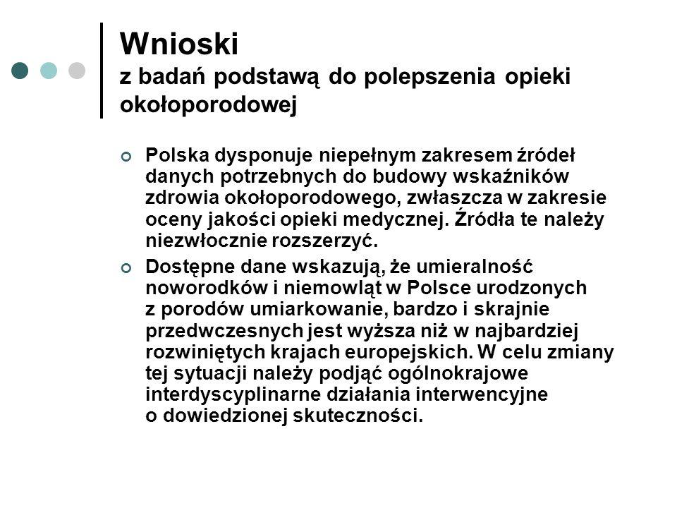 Wnioski z badań podstawą do polepszenia opieki okołoporodowej Polska dysponuje niepełnym zakresem źródeł danych potrzebnych do budowy wskaźników zdrow