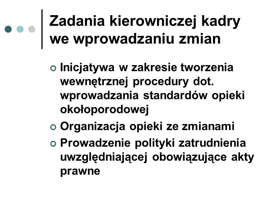 Zadania kierowniczej kadry we wprowadzaniu zmian Inicjatywa w zakresie tworzenia wewnętrznej procedury dot. wprowadzania standardów opieki okołoporodo