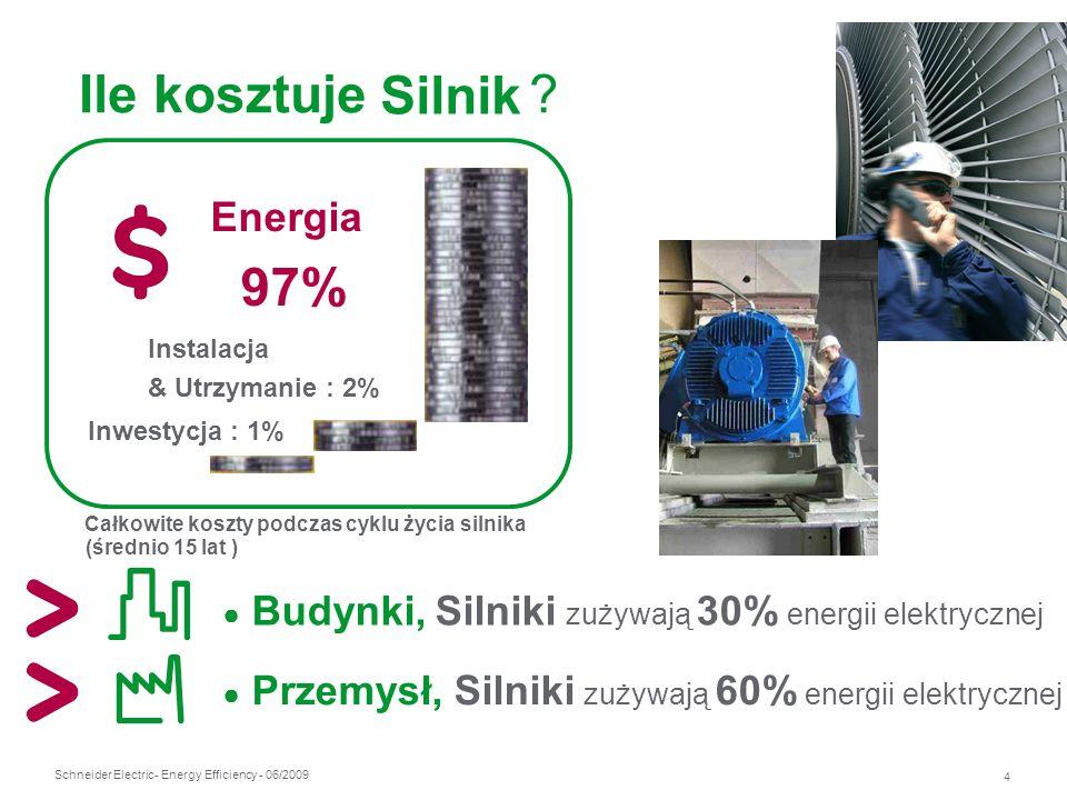 Schneider Electric 4 - Energy Efficiency - 06/2009 Ile kosztuje ? Energia 97% Inwestycja : 1% Instalacja & Utrzymanie : 2% Całkowite koszty podczas cy