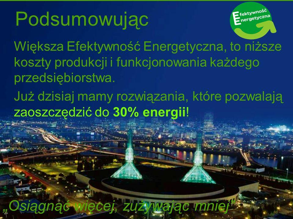 Podsumowując Większa Efektywność Energetyczna, to niższe koszty produkcji i funkcjonowania każdego przedsiębiorstwa. Już dzisiaj mamy rozwiązania, któ