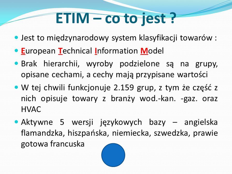ETIM – co to jest ? Jest to międzynarodowy system klasyfikacji towarów : European Technical Information Model Brak hierarchii, wyroby podzielone są na